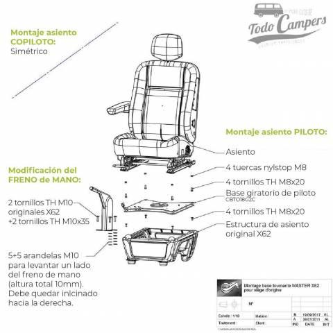 montaje plataforma asiento giratorio conductor master movano nv400 desde 2011