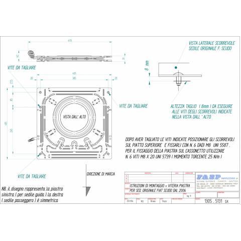 Medidas Base Giratoria Acompañante Scudo Jumpy Expert ProAce 2006-2016