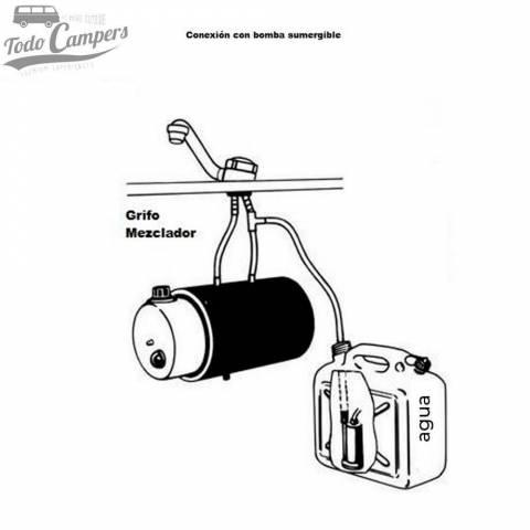 Esquema de instalación de boiler con grifo mezclador