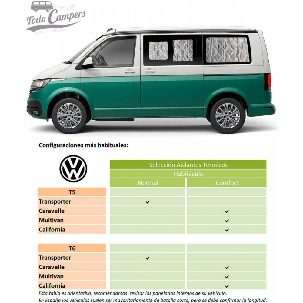 Aislantes Térmicos Volkswagen T5 y T6 - Habitáculos (ventanas laterales)
