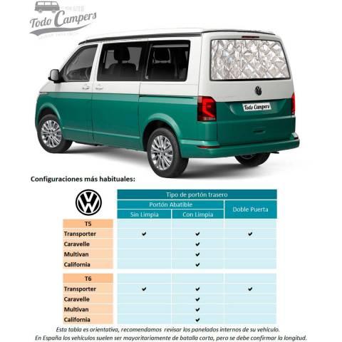 Aislantes Térmicos Volkswagen T5 y T6 - Apertura Trasera
