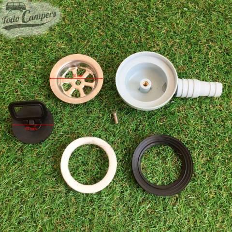 Desagüe en codo - Salida 19 mm ó 25mm, Tipo E, despiece