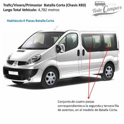 trafic vivaro primastar 2002 a 2014 habitaculo 4 piezas batalla corta