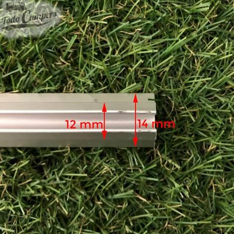 Medidas del soporte (14 mm de ancho) y del raíl (12 mm)