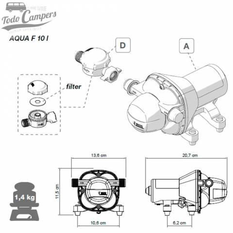 medidas de la bomba Aqua F de 10 litros