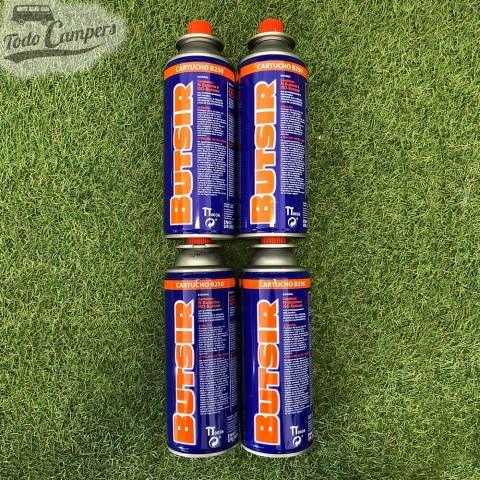 Pack de 4 Cartuchos de Gas Butano Comercial para aparatos de cartucho de válvula acorde con la normativa europea