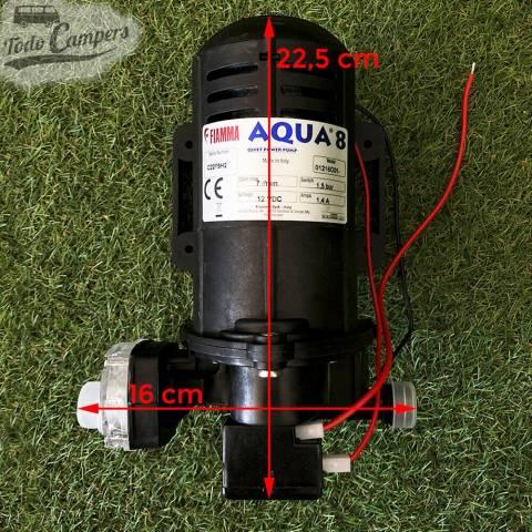 Bomba de Presión Fiamma Aqua 8 - 7 Litros - Medidas en la propia bomba. Bomba depósito de aguas limpias camper