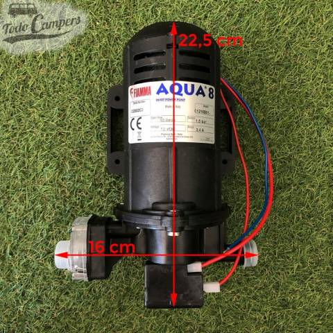 Bomba de Presión Fiamma Aqua 8 - 10 Litros - Medidas en la propia bomba. Bomba depósito de aguas limpias camper