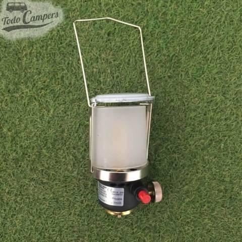 Lámpara de gas portátil, fiable y segura. Con asa incorporada, para las noches en tu furgoneta