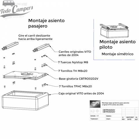 Montaje base giratoria acompañante mercedes vito 1996-2003 - Scopema