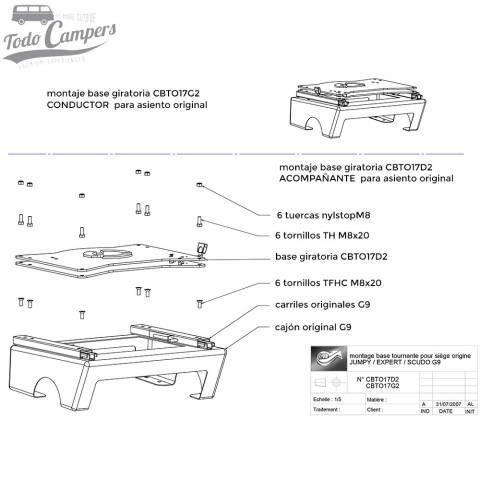 Montaje Base Giratoria Conductor Scudo Jumpy Expert ProAce 2006-2016 - Scopema