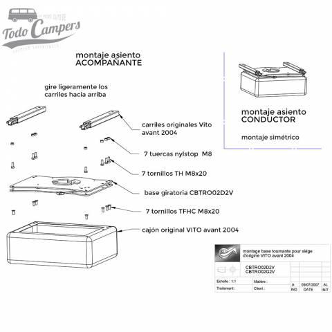montaje base giratoria conductor mercedes vito 1996-2003 - scopema