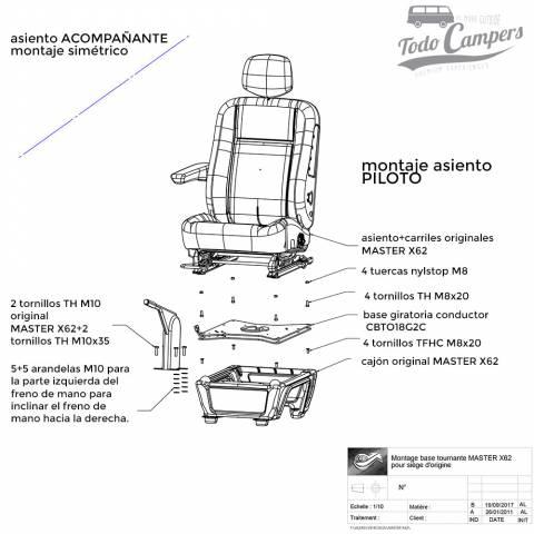 instrucciones para Base giratoria acompañante para Master, Movano y NV400 desde 2011