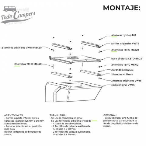 Instrucciones de montaje de la base giratoria de Scopema