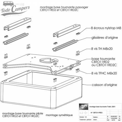 Planos para el montaje de la base giratoria