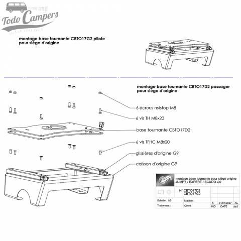 montaje asiento delantero giratorio acompañante scudo jumpy expert proAce 2006-2016 - scopema