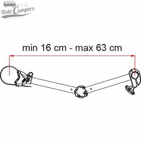Medidas del brazo S D2 para portabicicletas Fiamma Carry Bike Pro. Portabicicletas para furgonetas, autocaravanas o caravanas
