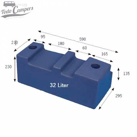 Medidas Depósito de agua especial Volkswagen T4 - 32L. Depósito de aguas limpias y grises para tu furgoneta