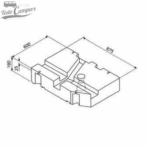 Medidas Depósito de agua especial Volkswagen T4 - 75L. Depósito de aguas limpias y grises para tu furgoneta