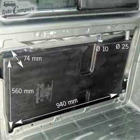 Medidas en interior Depósito de agua especial Volkswagen T5 y T6 - 27L. Depósito de aguas limpias y grises para tu furgoneta