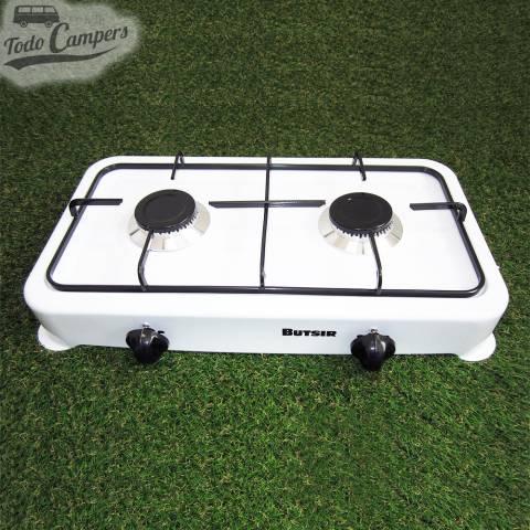 Cocina esmaltada de color blanco con dos quemadores. Para tu furgoneta camper, autocaravana o caravana