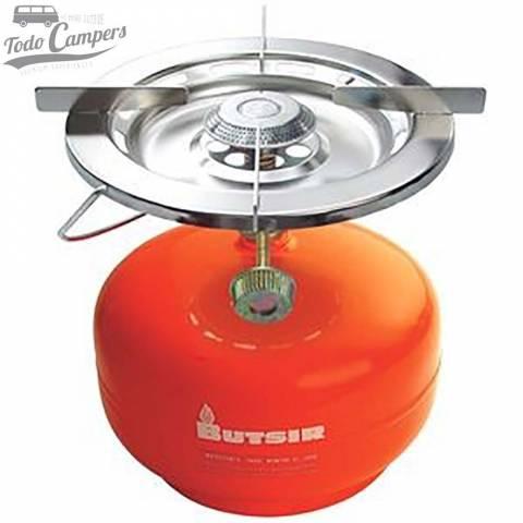 Hornillo portátil de gran potencia con asa incorporada. Utiliza botella de rosca naranja Butsir