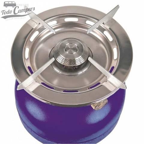 Hornillo portátil de gran potencia con asa incorporada. Utiliza botella de rosca azul Butsir