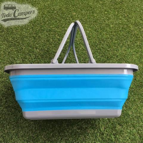 Cesto plegable azul con asa color azul
