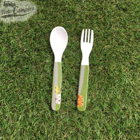 cuchara y tenedor para pequeños de animal traffic