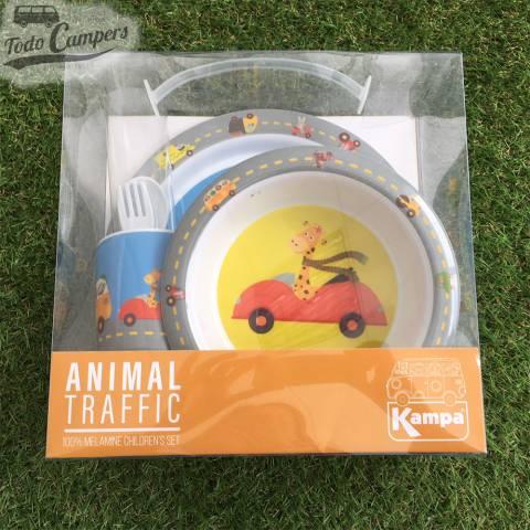 vajilla infantil completa de animal traffic