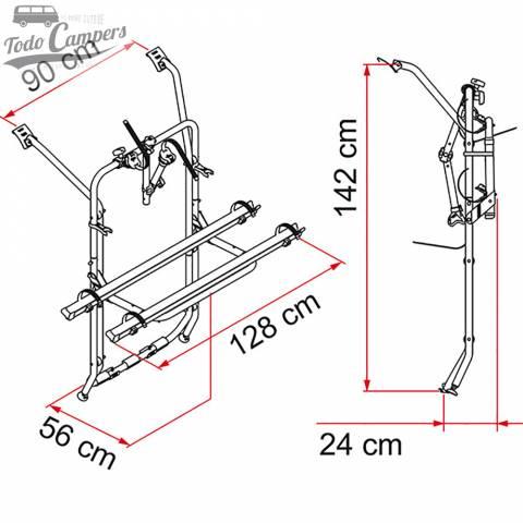 medidas del portabicicletas para T5 de Fiamma