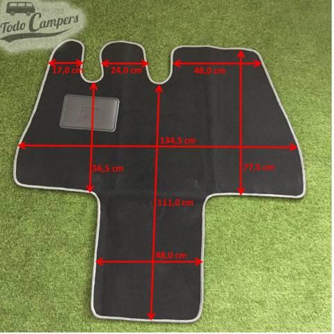Plano de medidas de la alfombrilla de cabina para furgonetas Ducato Jumper Boxer 94-02