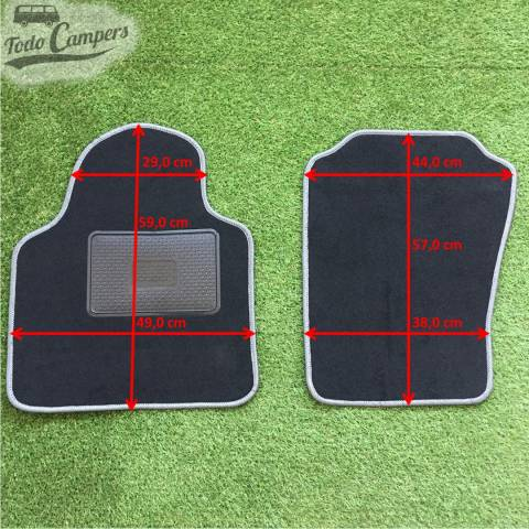 Plano de medidas de las alfombrillas de cabina para furgonetas Nissan NV200 2009. Alfombrilla para tu furgoneta camper