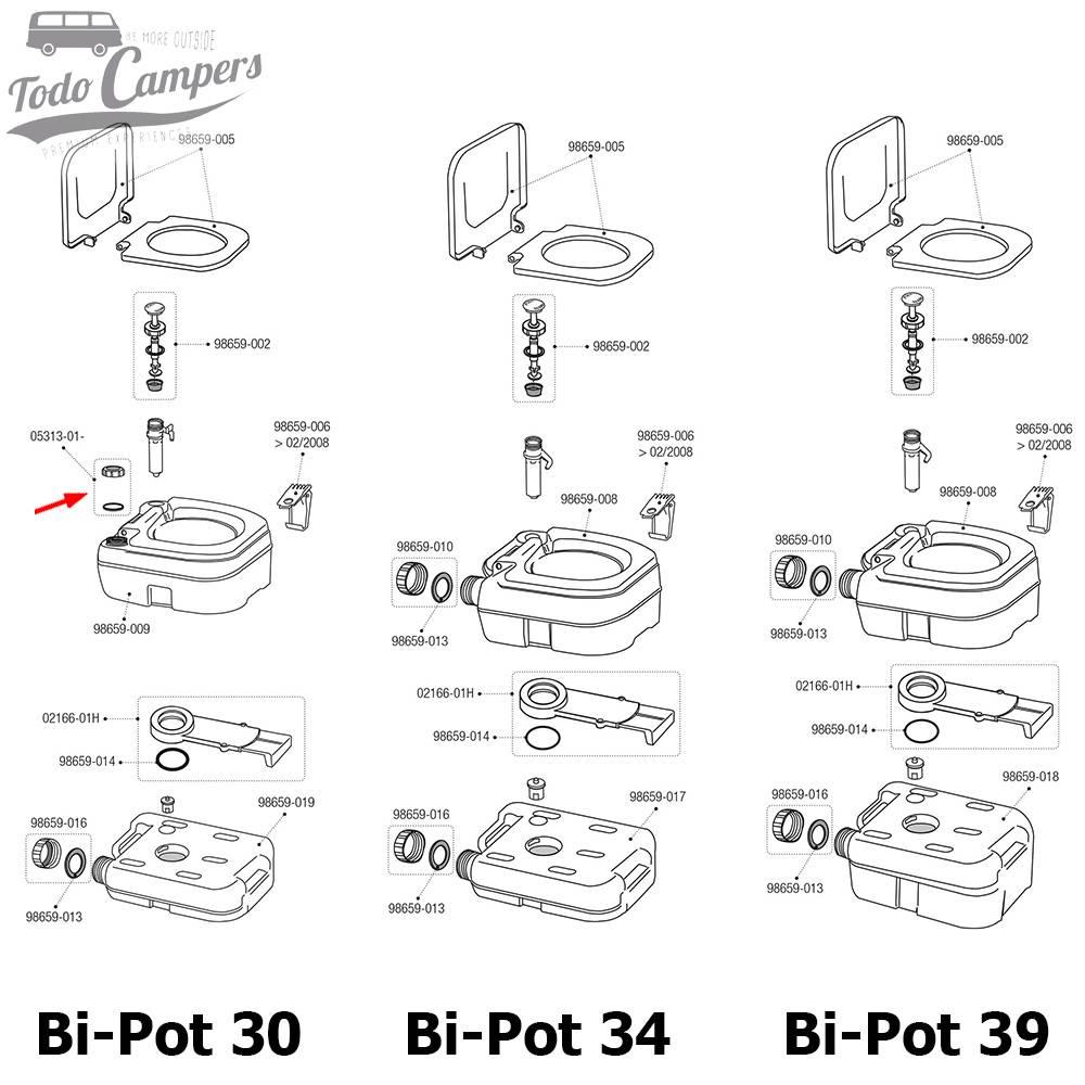Tapón Blanco + Junta Bi-Pot 30