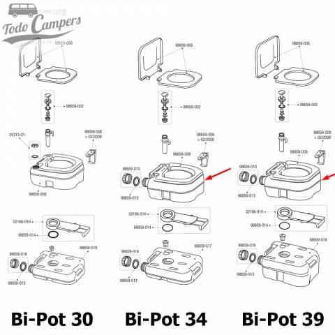 Depósito Superior de WC Químico Portátil Fiamma para modelos Bi-Pot 34 y Bi-Pot 39.