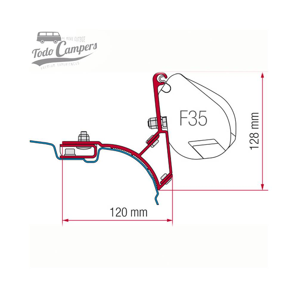 Soporte Toldo Fiamma F35 Pro para Volkswagen T5 y T6 (techos sin guía)