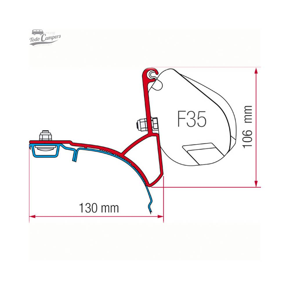 Soporte para toldo Fiamma F35 Pro para Volkswagen T5 y T6 (techos con guía)