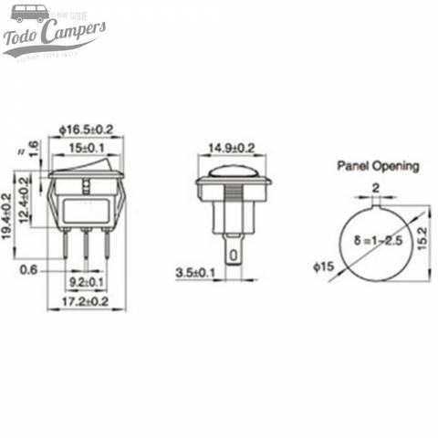 Interruptor unipolar 12V led Azul - Plano de Medidas