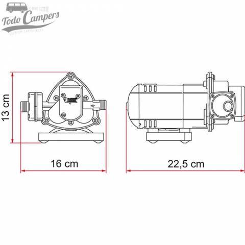 Bomba de Presión Fiamma Aqua 8 - 10 Litros - Medidas. Bomba depósito de aguas limpias camper