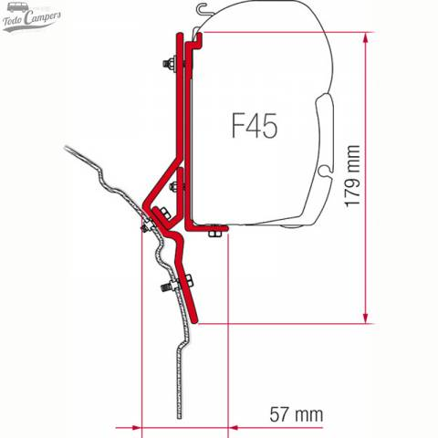 Medidas Soporte Toldo Fiamma F45s - Volkswagen T4