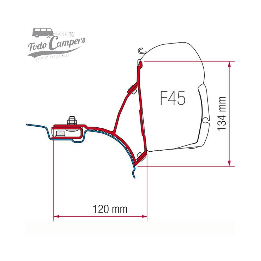 Soporte Toldo Fiamma F45s para Volkswagen T5 y T6 (techos sin guía)
