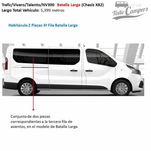 habitaculo 2 piezas 3º fila batalla larga parasol lateral furgoneta trafic vivaro nv300 desde 2015