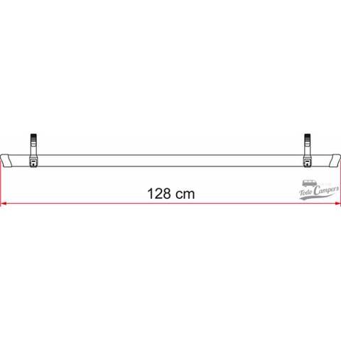 Medidas del Rail Quick 128 Rojo. Portabicicletas para furgonetas, autocaravanas o caravanas
