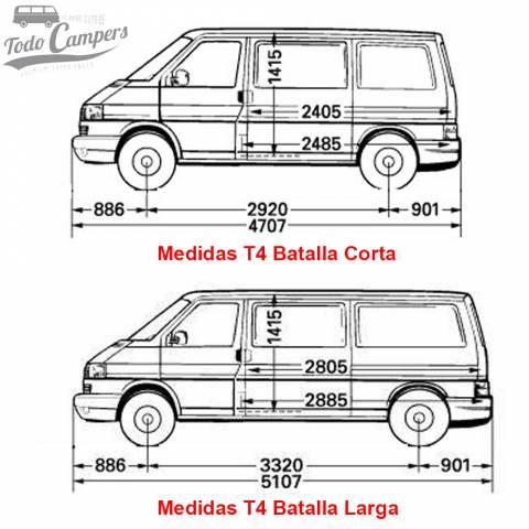 medidas batalla corta y larga aislante termico para furgonetas t4