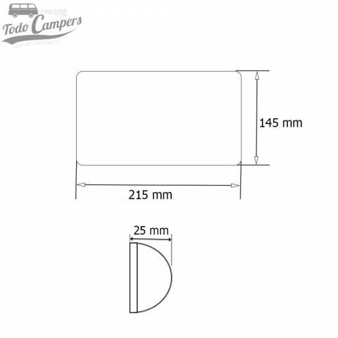 Medidas del plafón de superficie Led extrafino con interruptor - 215 x 145 mm