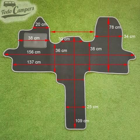 Plano de medidas de la Alfombrilla de cabina para Ford Custom (Transit y Tourneo) desde 2013.