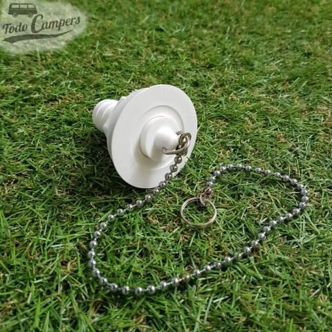 Desagüe recto - Salida 19 mm, Tipo B - Tapón de agua con cadena puesto