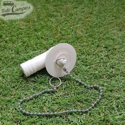Desagüe en codo - Salida 19 mm, Tipo B - Con tapón de agua puesto y cadena