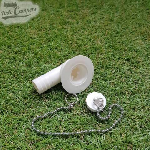 Desagüe en codo - Salida 19 mm, Tipo B - Con tapón de agua a un lado y cadena