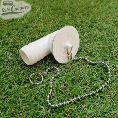 Desagüe en codo - Salida 25 mm, Tipo B - con tapón de agua puesto y cadena